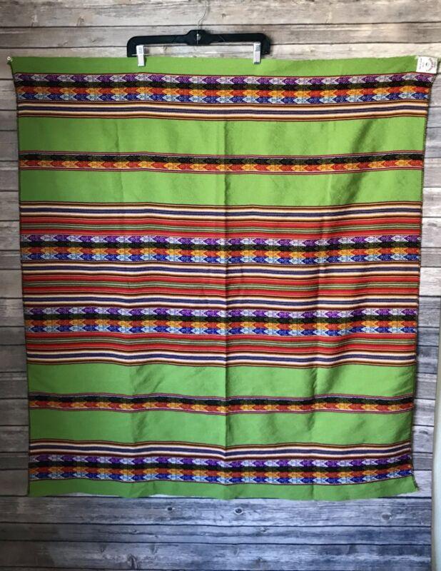 Tukuy Peru Peruvian Green Striped Cotton Blanket Tablecloth Picnic Stadium Throw