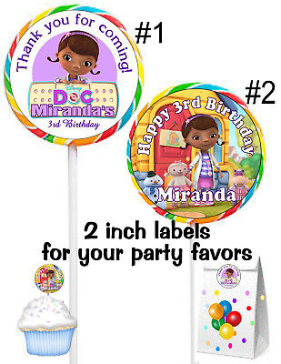 20 DOC MCSTUFFINS BIRTHDAY PARTY FAVORS STICKERS LABELS for lollipops goody bags (Doc Mcstuffins Birthday Party)