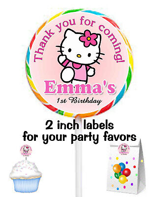 Hello Kitty Goody Bags (20 HELLO KITTY BIRTHDAY PARTY FAVORS STICKERS LABELS for lollipops ~ goody)
