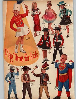 1964 PAPER AD 3 Pg Costume Halloween Superman Johnny Seven Micro-Helmet Gunsmoke (1964 Halloween Costumes)