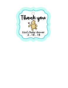 24 Personalized Baby Shower CLASSIC POOH BEAR Thank You favor tags. Boy, blue