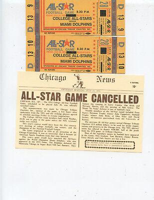 "(2) 1974 ""MIAMI DOLPHINS vs. COLLEGE ALL-STARS"" FULL UNUSED TICKETS (NICE)"