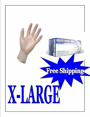 Vinyl Disposable Gloves Powder Free1000 GLOVES (10 BOXES) X-LARGE-FREE SHIPPING