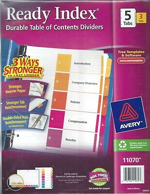 Ready Index Table Of Contents Dividers 5 Tabs 3 Sets