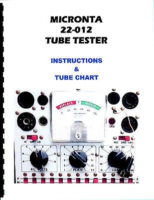 Manual Charts Micronta 22-012 T-31 Tube Tester Radio Shack Realistic New Copy