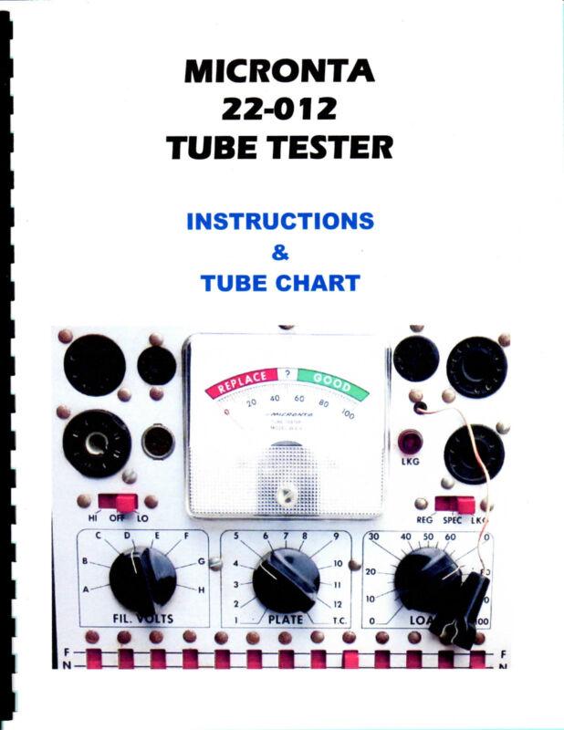 Manual + Charts Micronta 22-012 T-31 Tube Tester Radio Shack Realistic New Copy