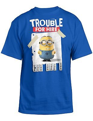 Despicable Me 2 Trouble For Hire Youth Blue T Shirt