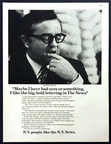 1967 Fashion Designer Geoffrey Beene photo New York News vintage print ad