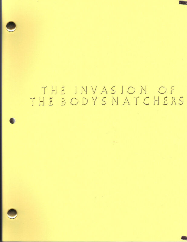 THE INVASION OF THE BODYSNATCHERS movie script (1977)