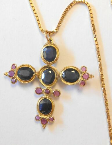 "2 CTW Blue Sapphire & Ruby 18K Yellow Gold Cross Pendant 20"" 14K Necklace"