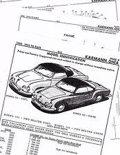 1955 1956 1957 1958 1959 1960-1964 KARMANN GHIA 1200 PARTS