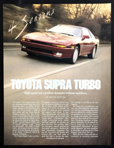 1987 Toyota Supra Turbo Coupe Road Test Technical Data Review Article