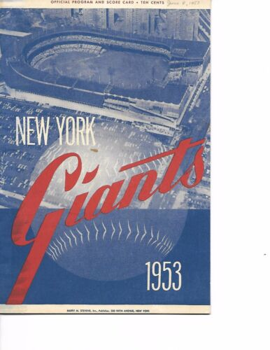 1953 New York Giants-Braves Program Mathews Powers Braves Win GEM!!