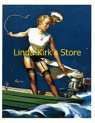Pin Up Girl PRINT Blonde Black Stockings & Garters Motor Boat Skirt Torn Off](Torn Stockings)