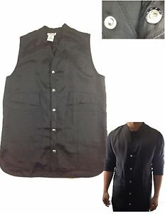 Brand-New-Barber-Vest-Hair-Stylist-Salon-Vest-V-neck-Button-Up-MEDIUM