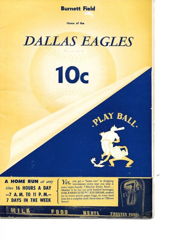 1949 Dallas Eagles-Ft. Worth Cats Texas League Program RARE!!