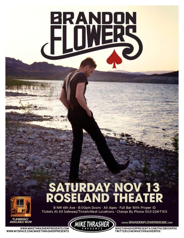 "BRANDON FLOWERS ""FLAMINGO ROAD TOUR"" 2010 PORTLAND CONCERT POSTER - The Killers"