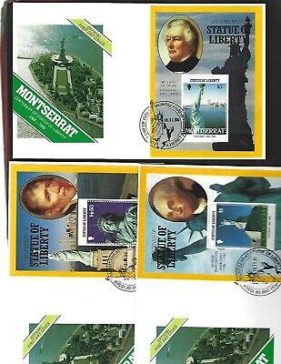 Montserrat sc#636-8 (1986) Complete Souvenir Sheets on FDC's