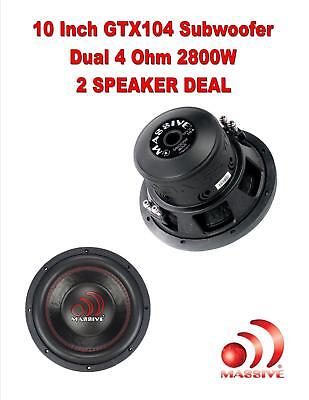 2  Massive Audio Gtx 104 2800W 10  Dual 4 Ohm Gtx Series Car Audio Subwoofer