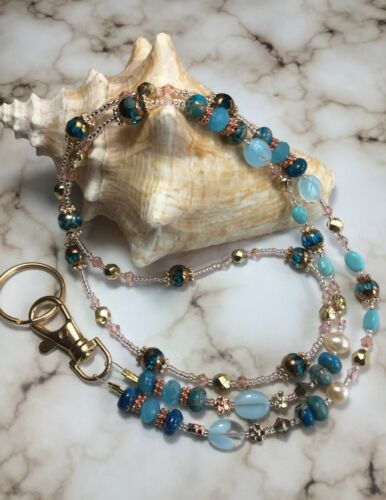 Handmade Czech Gemstone Eyeglass Chain/Mask/Lanyard W/Swarovski Elements USA