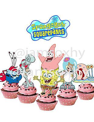Spongebob Cupcake Toppers (24 Spongebob Squarepants cupcake)