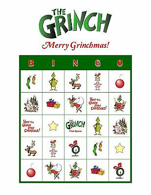 Dr. Seuss' The Grinch Who Stole Christmas Personalized Party Bingo Game Cards