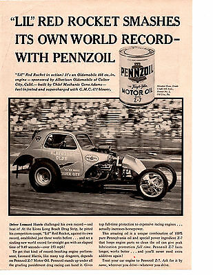 "1960 LEONARD HARRIS DRAG RACING ""LIL"" RED ROCKET  ~  ORIGINAL PENNZOIL AD"
