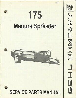 Gehl Company Manure Spreader 175 Form No. 904908 Parts Manual