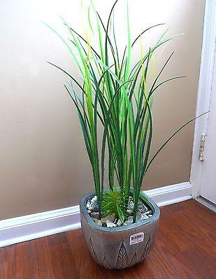 Plastic Artificial Grass Plant (10 Long Stems Grass Artificial Plastic Plants Home Vase)