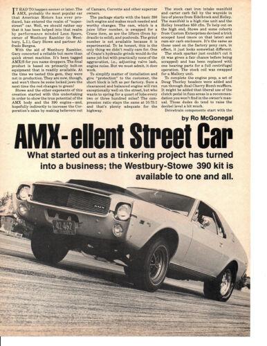 1969 AMC AMX BOLT-ON PARTS / WESTBURY RAMBLER ~ ORIGINAL 3-PAGE ARTICLE / AD
