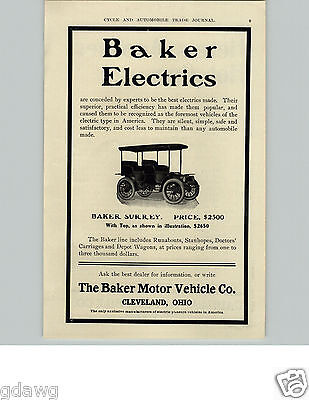 1905 PAPER AD Baker Electric Motor Co Cleveland Ohio Car Auto Automobile
