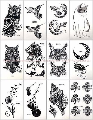 US SELLER-12 sheets Stick on Tattoos for Adults owl moon bird temporary tattoo