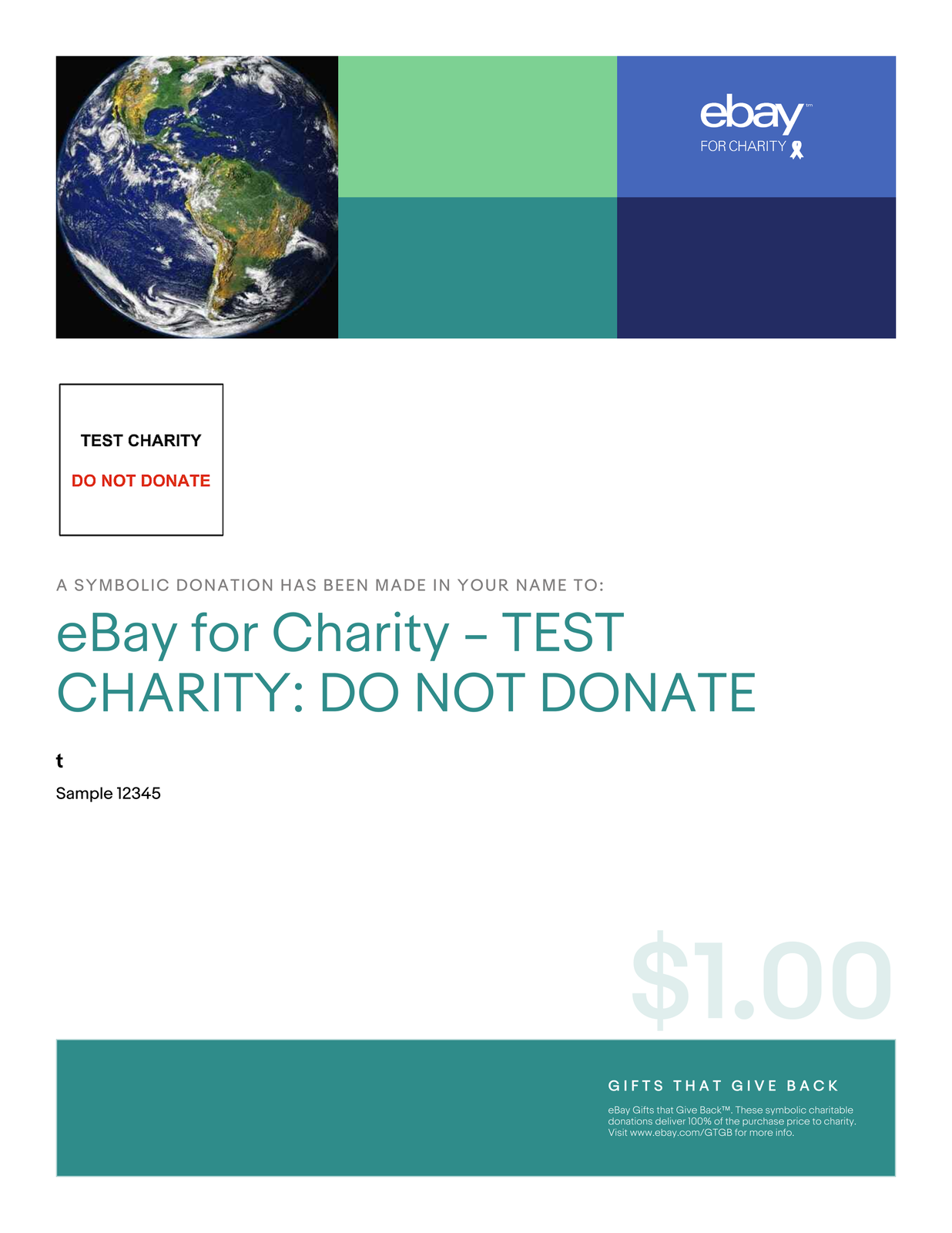 Details about $1 Charitable Donation For: Sample 12345 Sample 12345