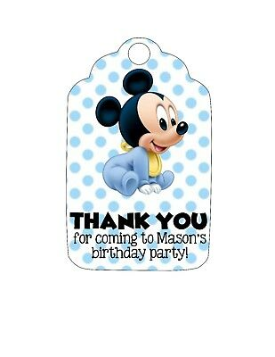 Personalized Birthday Party OR Baby Shower Favor Tags!  Mickey Mouse, blue, - Baby Mickey Mouse Birthday