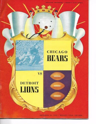 1952 Chicago Bears-Lions Program Bears Win See-Saw Battle NICE!!