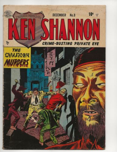 KEN SHANNON #8 FN- /FNTHE CHINATOWN MURDERS GOLDEN AGE QUALITY COMICS 1952