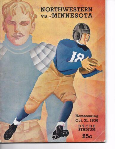 1936 Northwestern-Minnesota Program Cats Outlast Gophers RARE!!