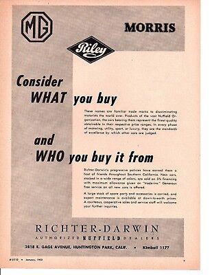 1952 MG - RILEY - MORRIS / RICHTER-DARWIN ~ ORIGINAL DEALER AD
