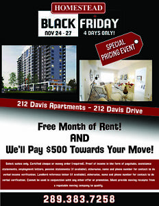 212 Davis Apartments - BLACK FRIDAY EVENT! Davis & Yonge