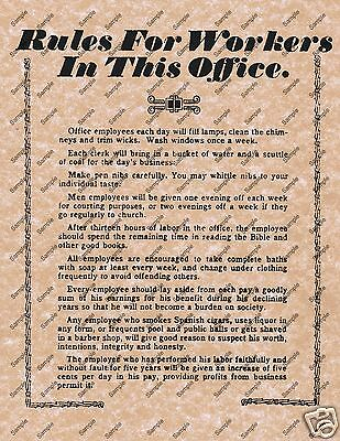 RULES FOR WORKERS IN THIS OFFICE OLD WILD WEST POSTER DESK WORK DECOR - Desk Decorations For Work