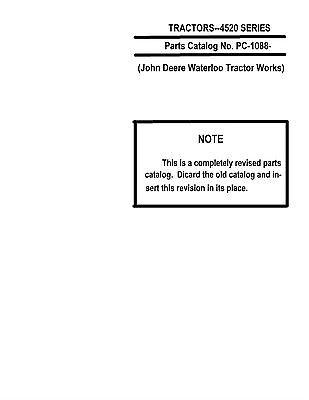 John Deere 4520 Tractor Parts Catalog Book Reproduction