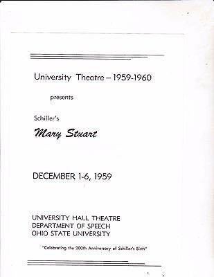 1959 OHIO STATE UNIVERSITY --University Theatre--MARY STUART---Program