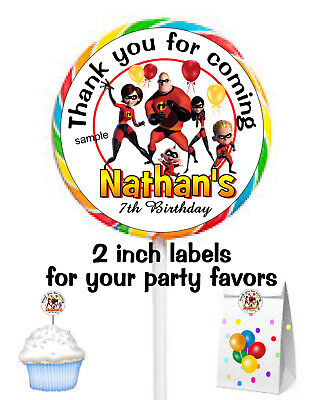 20 THE INCREDIBLES BIRTHDAY PARTY FAVORS STICKERS LABELS FOR YOUR PARTY FAVORS