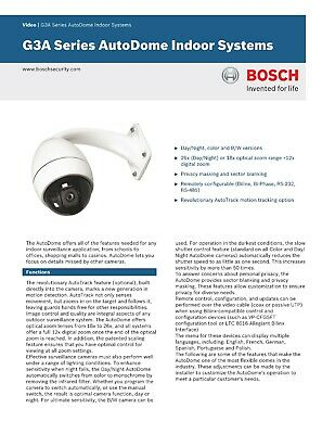 Bosch Ptz Camera 18x Indoor Ltc 0825 G3a Day Night Mode