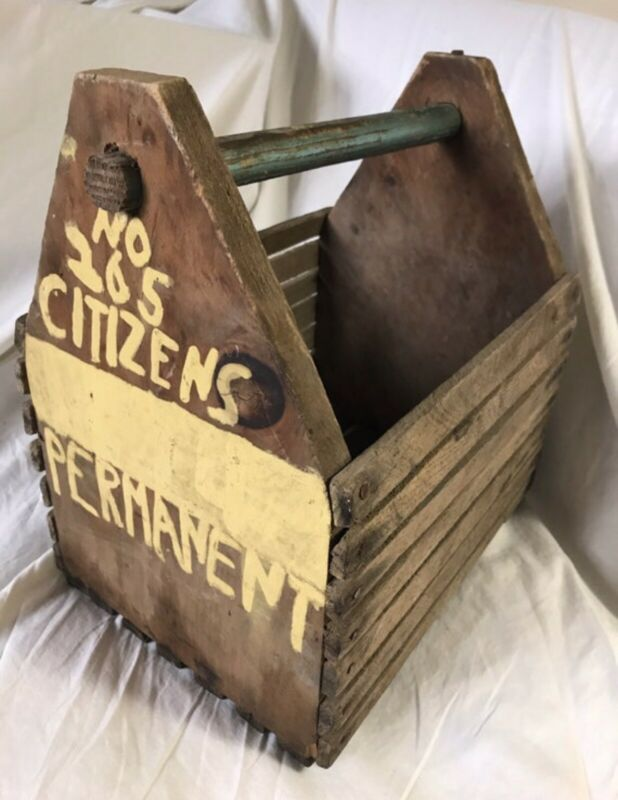 Antique Vintage Folk Art Painted Clamming Clam Basket nautical tote old surface