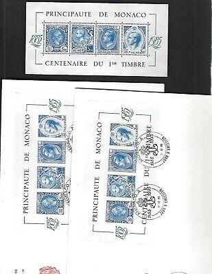 Monaco sc#1500 (1985) Souvenir Sheet MNH + FDC x2