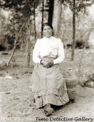 Paiute Indian Woman Sitting on a Wooden Box - circa 1900 - Historic Photo Print