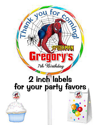 20 SPIDERMAN BIRTHDAY PARTY FAVORS STICKERS LABELS for lollipops ~ goody bags