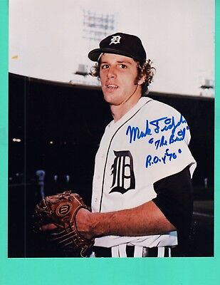 """Mark Fidrych """"The Bird"""" ROY 1976 Hand Signed Autograph 8x10 Photo Detroit Tigers"""