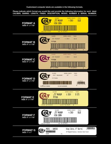 Colt  Computer Printed End Labels